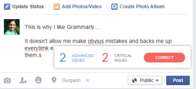 grammarly corrects social media