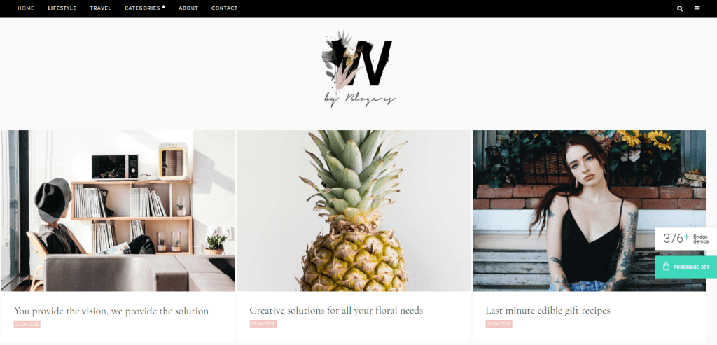 Bridge best minimal wordpress theme for bloggers