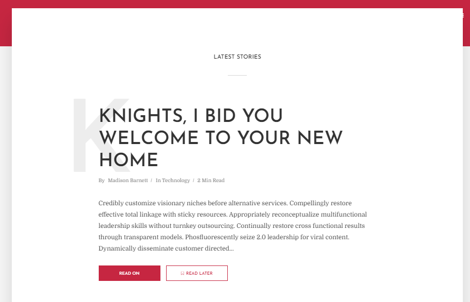 single column wordpress theme