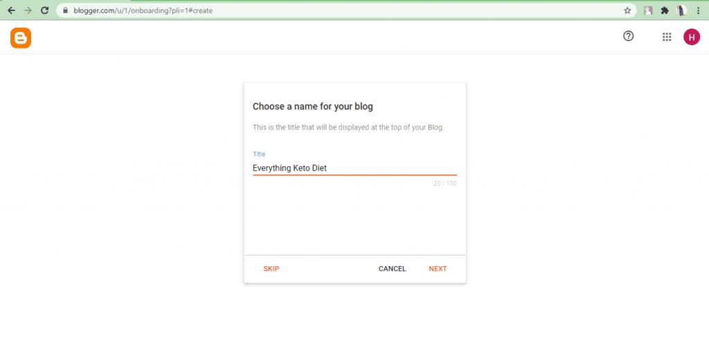 Blogger- Blog name