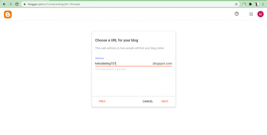 Blogger- blog URL