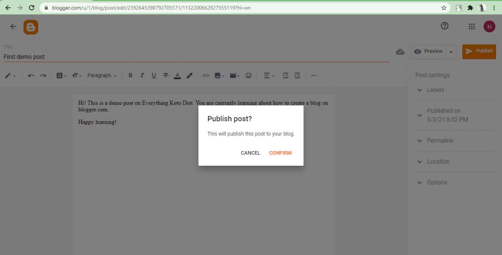 Blogger- publishing