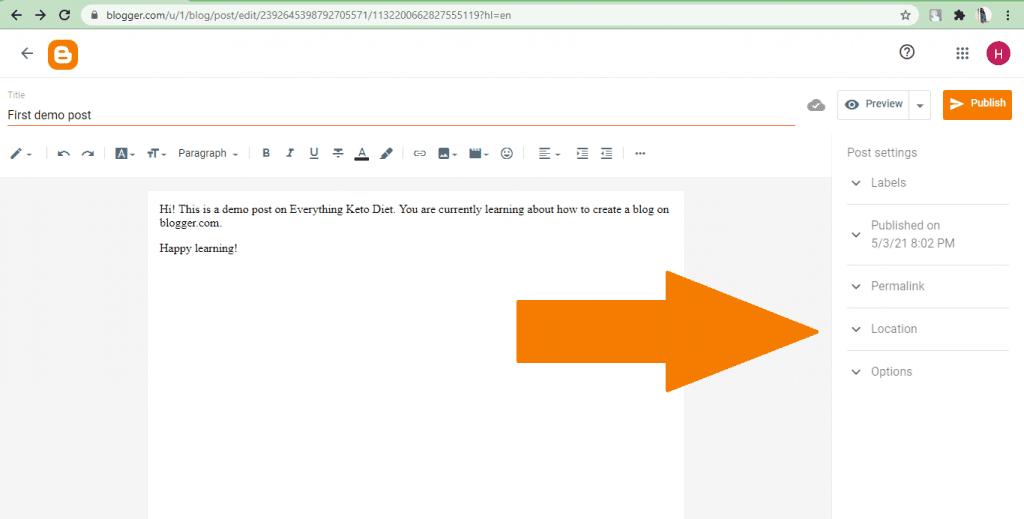 Blogger- post settings
